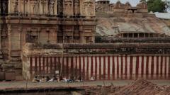 Outside the main temple in the Vijayanagara empire in Hampi, Karnataka, India. Stock Footage