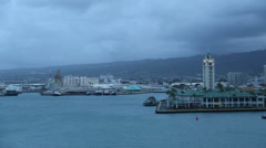 Aloha Tower from Deck of Cruise ship Stock Footage