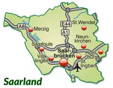 map of saarland with highways in pastel green - stock illustration