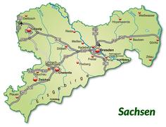 Map of saxony with highways in pastel green Stock Illustration