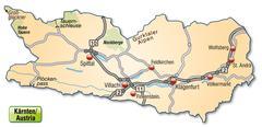 Stock Illustration of map of kaernten with highways in pastel orange