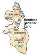 Stock Illustration of map of berchtesgadener land with highways in pastel orange