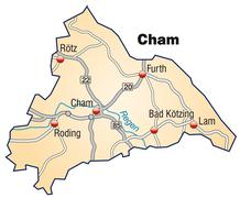 Stock Illustration of map of cham with highways in pastel orange