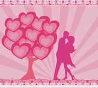 Greeting card with silhouette of romantic kissing couple Stock Illustration