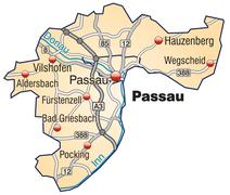 Stock Illustration of map of passau with highways in pastel orange