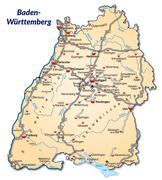 Stock Illustration of map of baden-wuerttemberg with highways in pastel orange