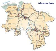 Stock Illustration of map of lower saxony with highways in pastel orange