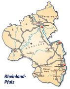Map of rhineland-palatinate with highways in pastel orange Stock Illustration