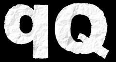 Crumple paper alphabet - Q - stock photo