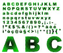 Dots fantasy alphabet - green - stock photo