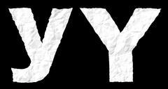 Crumple paper alphabet - Y - stock photo