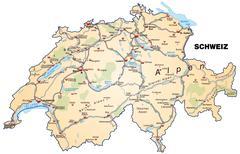 Map of switzerland with highways in pastel orange Piirros