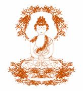 vector of chinese traditional artistic buddhism pattern - stock illustration