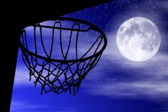 Basket silhouette moonlight - stock photo