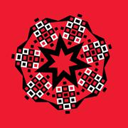 starburst geometric medallion on red - stock illustration