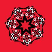 Stock Illustration of starburst geometric medallion on red