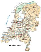 Stock Illustration of map of netherlands with highways