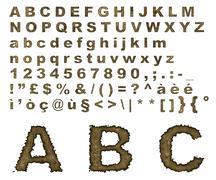 Burnt parchment alphabet Stock Illustration