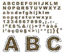 Burnt parchment alphabet - stock illustration