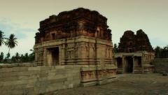 Smooth pan of the Acyutaraja hindu temple ruins. Stock Footage