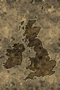 Parchment great britain map Stock Illustration