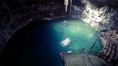 Cenote or natural pit in Yucatan Stock Footage