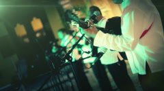 Musical band in concert Stock Footage