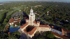 Historic Biltmore Hotel in Miami, aerial view Stock Footage