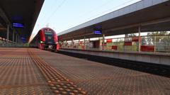 Railway station. Stadion . Warsaw - stock footage