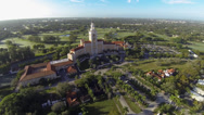 Stock Video Footage of Aerial Footage of the Biltmore Hotel in Coral Gables, Florida