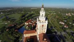 Flying by the Biltmore Hotel, Miami, Florida Stock Footage