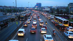 Dense traffic in city Stock Footage