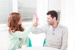 Happy couple agrees with the agreement Stock Photos