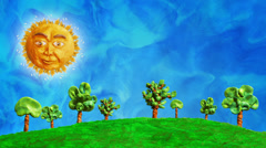 Clay swaying trees with funny sun, loop, HD Stock Footage