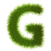 Grass style Cyrillic Alphabet Letters and Numbers - stock photo