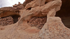Canyonlands National Park Aztec Ruin Cliff Dwelling Panning Shot Wide Stock Footage