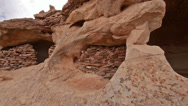 Stock Video Footage of Canyonlands National Park Aztec Ruin Cliff Dwelling Panning Shot Wide