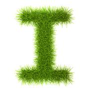 Stock Photo of Grass style Cyrillic Alphabet Letters and Numbers