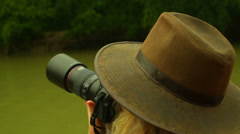Stock Video Footage of birder birding bird watcher