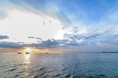 sunset beach, bang phra - stock photo