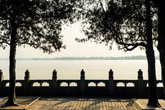 The marble fence at lakeside of summer palace Stock Photos
