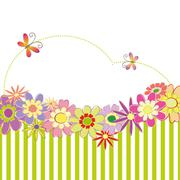 Abstract springtime flower greeting card - stock illustration