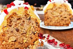 Christmas cake slices - stock photo