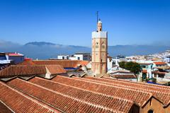 View of chefchaouen from the kasbah, morocco - stock photo