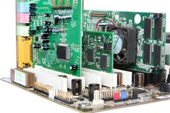 Computer hardware. motherboard with video card, sound card Stock Photos