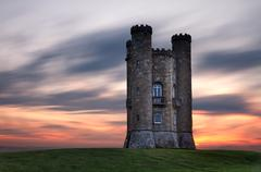 Broadway Tower at dusk, Cotswolds, UK Stock Photos