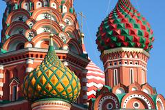 Cupola of st. basil's cathedral in red square, moscow, russia Stock Photos