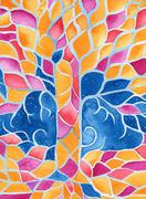 tree of life, original watercolor painting - stock illustration