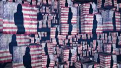Dancing girl USA flag cubes flying - 1080p Stock Footage