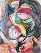 century gap - abstract watercolor and ink painting - stock illustration